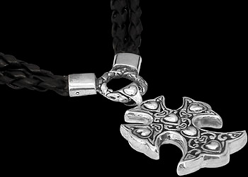 Religious Chokers - .925 Sterling Silver and Leather Cross Necklaces N5898