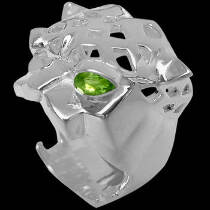 Sterling Silver and Peridot Tiger Head Ring CR100