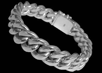 Plus Size Jewelry - .925 Sterling Silver Cuban Link Bracelets B537L - 15mm - Security Clasp