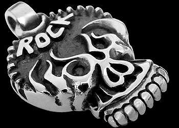 Gothic Jewelry - .925 Sterling Silver Skull Pendants RCK3014