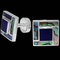 Father's Day Jewelry Gift - Lapis Lazuli Blue Mother of Pearl Paua Shell and .925 Sterling Silver Cuff Links AZ510a