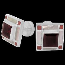 Father's Day Jewelry Gift - Garnet Red Coral Mother of Pearl and .925 Sterling Silver Cuff Links AZ511