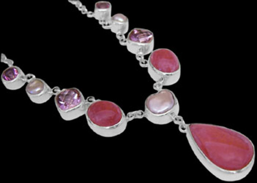 Bridal Gift - Rhodochrosite Pink Topaz White Pearl and Sterling Silver Necklaces N959