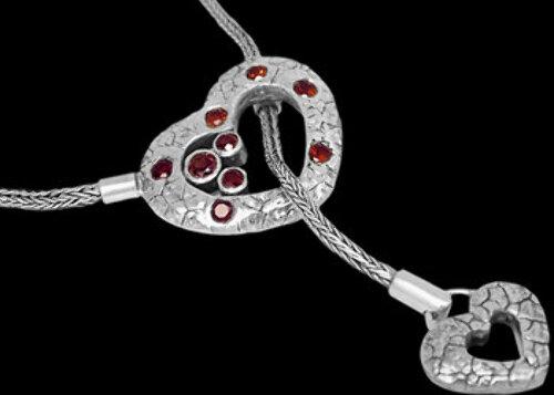 Bridal Gift - Garnet and Sterling Silver Necklaces N2311ga