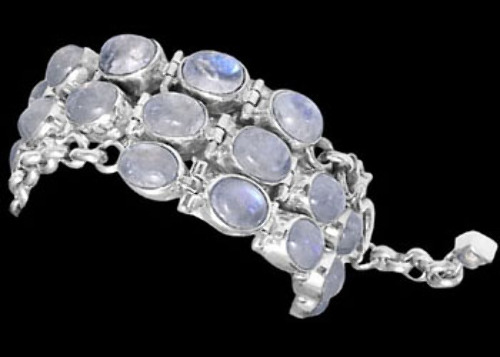Bridal Gift - Rainbow Moonstone and Sterling Silver Chokers MC5