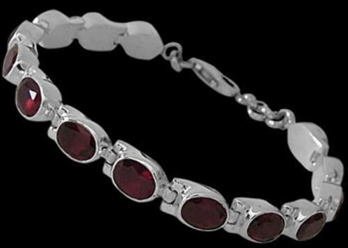 Bridal Jewelry - Garnet and Sterling Silver Bracelets B5