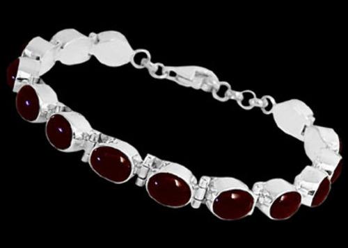 Bridal Jewelry - Cabochon Garnet and Sterling Silver Bracelets B5