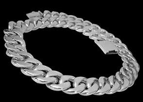 Groom's Gift - Sterling Silver Link Necklaces N218A - 15mm - Security Clasp