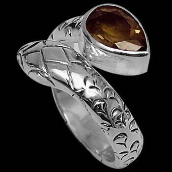 Smokey Topaz and .925 Sterling Silver Ring R2580st