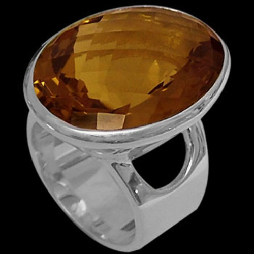 Whiskey Quartz and Sterling Silver Rings R-1288whisk