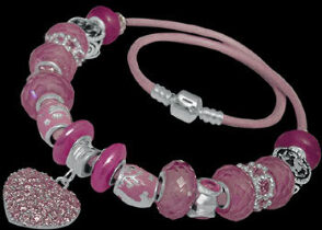 Leather Bracelets - Pink Glass Beads Pink Cubic Zirconia and .925 Sterling Silver Beads and Double Pink Leather bracelet PB181