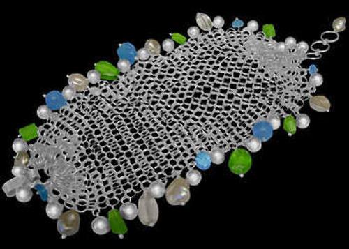 Bridal Jewelry - Topaz Peridot Aquamarine White Pearl and Sterling Silver Bracelets BR-1146