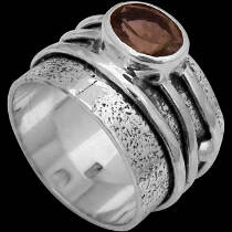 Men's Jewelry - Smokey Quartz and .925 Sterling Silver Rings R034smk