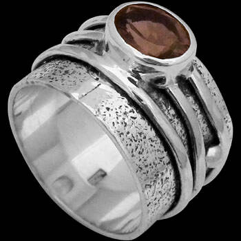 Smokey Quartz and .925 Sterling Silver Rings R034smk