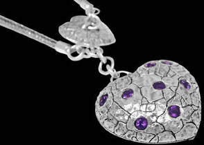 Valentines Day Jewelry Gift - Amethyst and .925 Sterling Silver Necklaces N1512amy