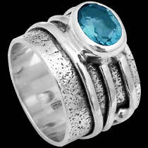 Men's Jewelry - Blue Topaz and .925 Sterling Silver Rings R034tp