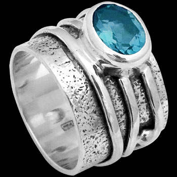 Blue Topaz and .925 Sterling Silver Rings R034tp