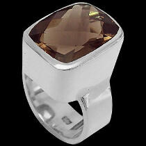 Smokey Quartz and Sterling Silver Rings R540-1
