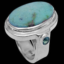 Turquoise Topaz and .925 Sterling Silver Rings R-854tuq