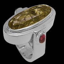 Rutilated Quartz and Sterling Silver Rings R-854rut