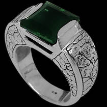 Men's Jewelry - Green Quartz and .925 Sterling Silver Ring R6276gq
