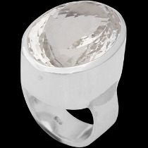 Clear Crystal Quartz and Sterling Silver Rings R-540cry