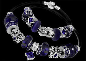 Leather Bracelets - Purple Beads Purple Cubic Zirconias .925 Sterling Silver Beads and Double Black Leather bracelet PB131