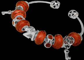 Leather Bracelets - Red Beads Red Cubic Zirconias and .925 Sterling Silver Beads and Sterling Silver Bracelet PB280