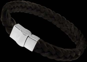 Black Leather and Sterling Silver Bracelets A001BK