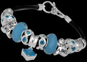 Leather Bracelets - Blue Glass Beads Blue Cubic Zirconia Beads and .925 Sterling Silver Beads and Leather bracelet PB113