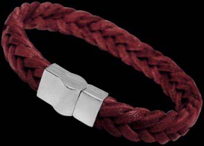 Red Leather and Sterling Silver Bracelets A001RD