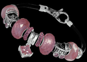 Leather Bracelets - Pink Glass Beads Pink Cubic Zirconias and .925 Sterling Silver Beads and Leather bracelet PB122