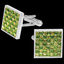 Jewellery - Stainless Steel Green and Yellow Cubic Zirconia Cufflinks STC2gr