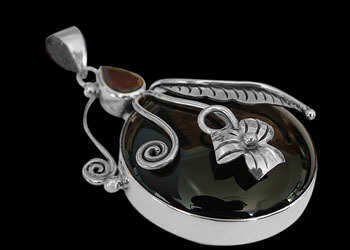 Onyx Garnet and Sterling Silver Pendants MP137G