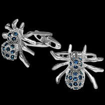 Jewellery - Stainless Steel Spider Cufflinks with Blue Cubic Zirconia Gemstones STC3b