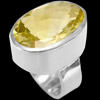 Citrine and Sterling Silver Rings R-540b