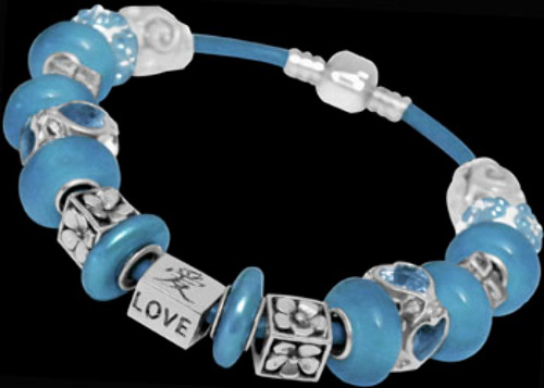 Blue Pear Beads Blue Cubic Zirconias Pearl Beads and .925 Sterling Silver Beads and Leather bracelet PB605