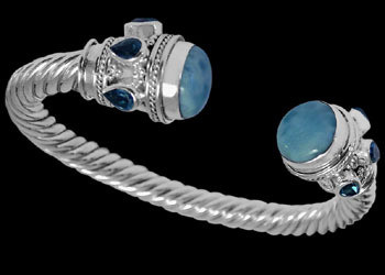 Plus Size Jewelry - Larimar Topaz and .925 Sterling Silver Cable Bracelets B500L