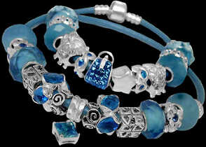 Leather Bracelets - Blue CZ Beads Blue Cubic Zirconias and .925 Sterling Silver Beads and Double Blue Leather bracelet PB136