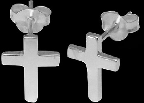 .925 Sterling Silver Earrings - Cross Studs E605
