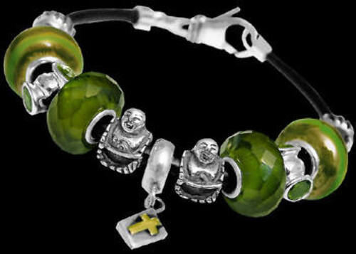 Green Glass Beads Green Cubic Zirconias and .925 Sterling Silver Beads and Leather Bracelet PB124
