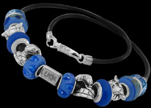 Blue Beads Blue Cubic Zirconias .925 Sterling Silver Beads and Double Black Leather Bracelet PB169