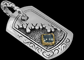 .925 Sterling Silver Topaz and 18K Gold Dog Tag Pendants P419tp