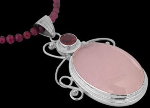 Garnet Rose Quartz and Sterling Silver Necklace MP204