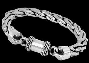 Mens Jewelry - .925 Sterling Silver Bracelets B669B - 8mm - Barrel Clasp