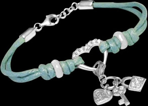 .925 Silver Jewelry - Sterling Silver Beads with Blue Cotton Cord Bracelets B538bl