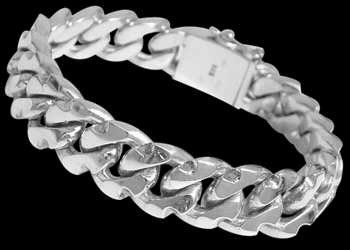 Plus Size Jewelry - .925 Sterling Silver Link Bracelets B478A - 11mm - Security Clasp