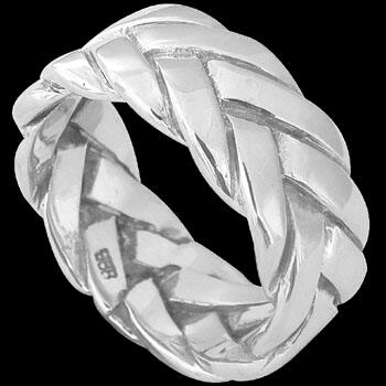 Celtic Jewelry - .925 Sterling Silver Rings - Thick Woven Celtic Braid Band RI-06107