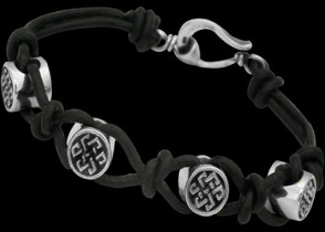 .925 Sterling Silver Celtic Beads and Black Leather Bracelets - Celtic Beads ANIXI105