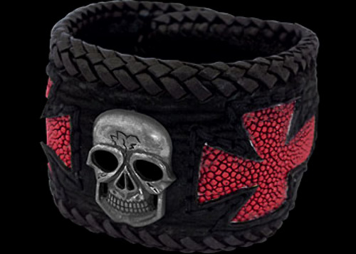 Gothic Jewelry - .925 Sterling Silver Skull Shark Leather Red Inlaid Stingray Leather Bracelets BC129